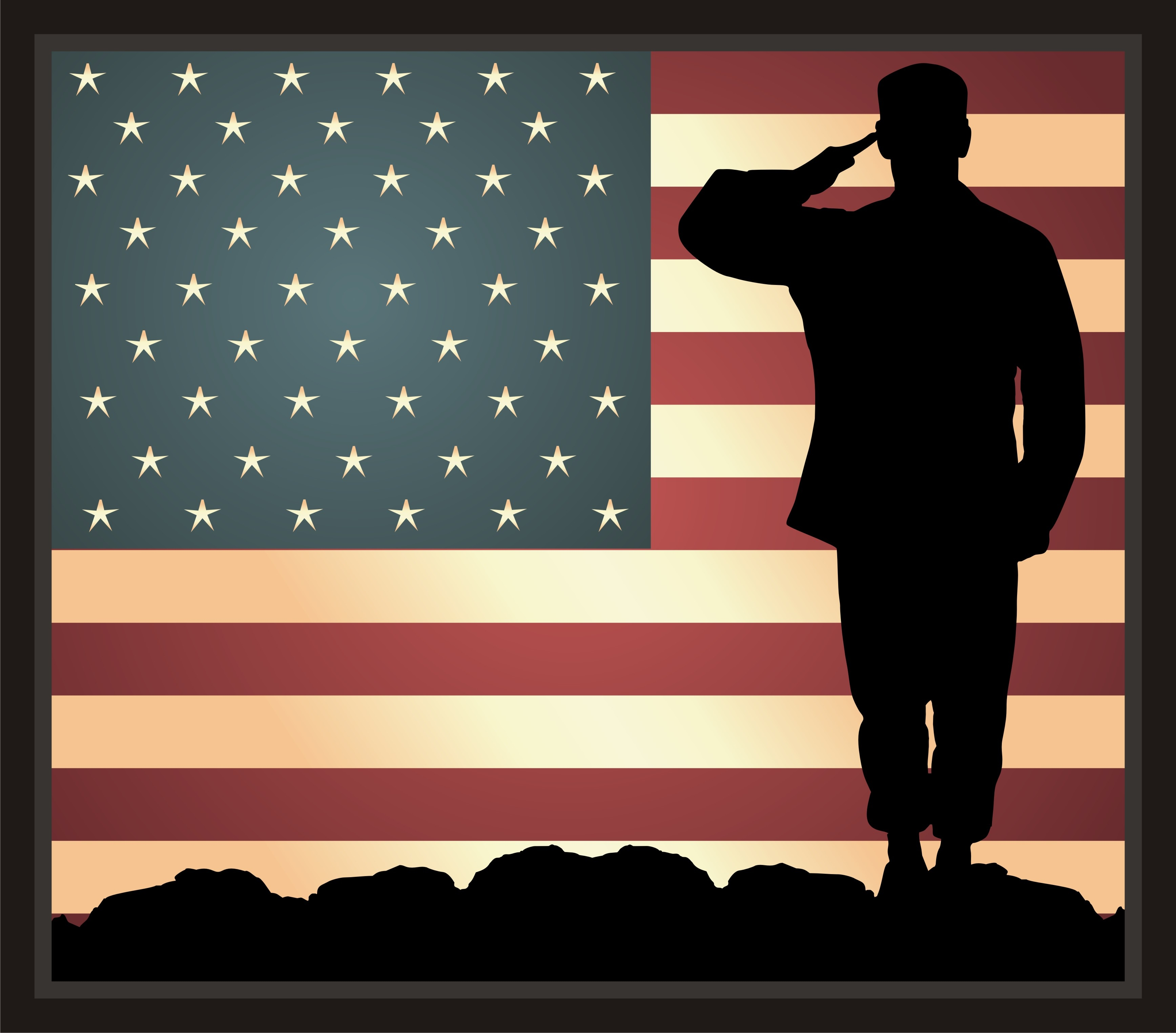 soldier salute the red white blue